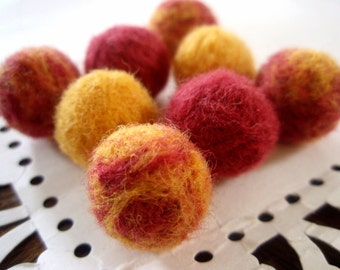 Needle Felted Balls - Zinnia Mix - Berry Red and Marigold Yellow Wool Beads - Round Felt Balls - Bright Solid and Marbled Wool Ball Bead Set