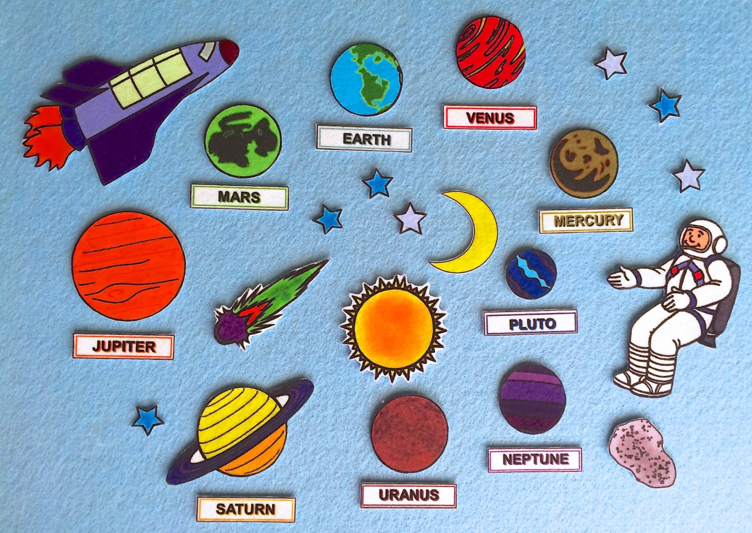 Space adventures solar system felt board set planets for Space flannel