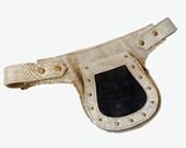 Unisex leather Utility Belt- snake print - travel, burning man, festivals, hands-free style - flask holder