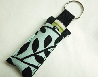 Chap Stick Holderkeychain, Lip Balm key chain, chapstick case keychain, lip stick, Lipbalm case cozy- Black Leaf blue sky