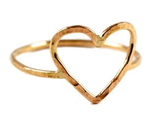 Hammered Heart Ring, Gold Love Ring