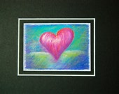 Pink Heart on Green - small original pastel painting, matted to 5 x 7