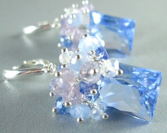 Blue Quartz, Lavender Opal, Blue Chalcedony, Topaz and Crystal Gemstone Sterling Silver Earrings