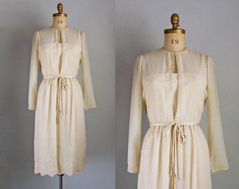 1970s wedding dress - Rizkallah Saks sheer lace cappuccino day party dress medium