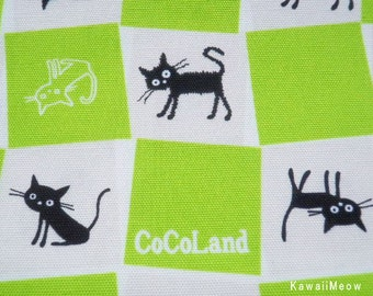 CoCoLand Fabric - Check Cats on Green - Half Yard - (no140127)
