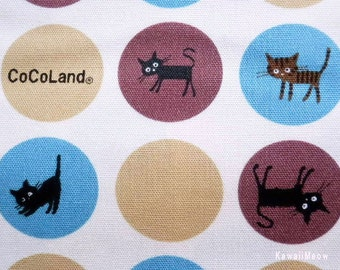 SALE / CoCoLand Fabric - Soap Bubbles Cats on Ivory x Blue - Half Yard - (ma130410)