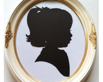 8x10 inch White and Gold Silhouette Frame
