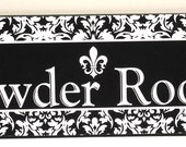 French Damask Fleur de Lis Wood Powder Room Wall Plaque