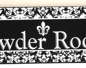 French Damask Fleur de Lis Wood Powder Room Wall Plaque
