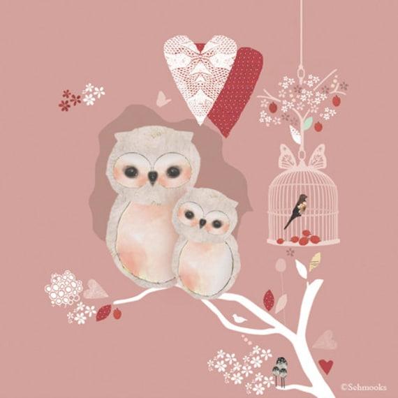 Children Owl Art Print - Love Nest