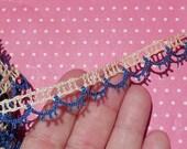 Vintage Lace Trim Crochet Lace Cotton Trim Royal Blue and Cream