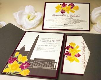 SAMPLE Washington DC Bouquet Pocketfold Wedding Invitation, Daffodils, Tulips, Sunflowers, Flowers, Pink, Blue, Red Wine, Yellow
