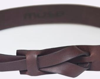 Flat Brown Muse Leather Belt 1.25 inch  Nickel-Free/ Free shipping
