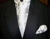 "Ascot or Carvet gray rose brocade print 57"" x 4"" Mens Wedding, cravat tie with matching pocket puff, Mens wedding tie"