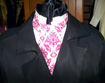 "Ascot or Cravat White and Fusia Hot Pink Damask cotton print fabric 4"" x 46"" Mens Historial Wedding, cravat tie"