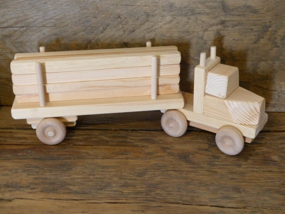 Wooden Toys For Boys : Handmade wooden toy lumber truck wood toys kids boys childs