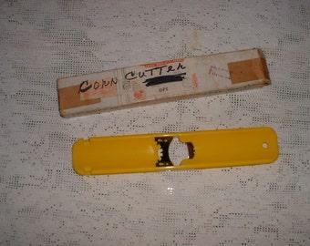 Vintage American Corn Cutter in Original box Bright Yellow