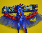 Handmade wedding garters keepsake and toss WONDER WOMAN Super Hero wedding garters