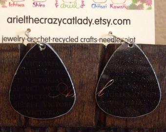 Recycled credit card earrings Victorias Secret black
