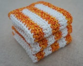 Crochet Dishcloths, Cotton. Orange and Yellow Twist, and White Stripes.