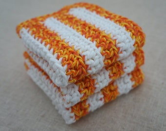 Crochet Dishcloths, Cotton. Orange and Yellow Twist, and White Stripes.