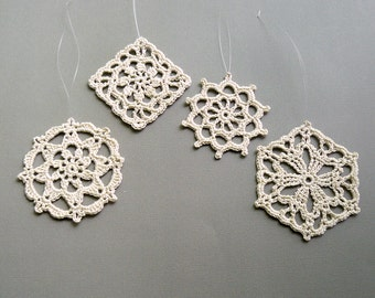 4 Crochet Christmas Ornaments -- Natural Beige Medallions -- Assortment LM1