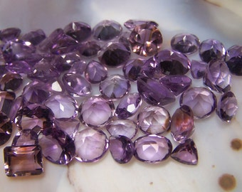 Genuine Amethyst Ametrine gemstone lot by the carat - round oval rectangle tear drop trillion triangle purple february birthstone faceted