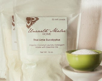 Organic Coconut Laundry Detergent, Thai Lime Eucalyptus Essential Oils, Anti-Bacterial, Anti-Fungal, Great for Dust Mite Allergies