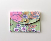 Women's Wallet - Fabric Credit Card Holder - 60's floral pastel