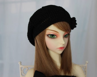 Black Crochet Hat for SD BJD, 1/3 Dollfie, SD, Size 8-9 - Doll Clothes - Luts, Volks, Dollfie Dream abjd