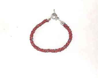 Red and Grey  Kumihimo Beaded Bracelet - 1366