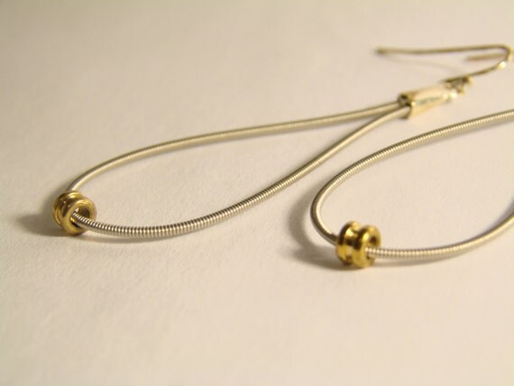 guitar string teardrop earrings with gold ball ends by jbidesigns. Black Bedroom Furniture Sets. Home Design Ideas