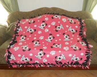 White Dogs on Pink Coral Black Back No Sew Fleece Blanket Fleece Tie Blanket Pet Blanket Dog Blanket Fleece Throw 48x60 Approx. size