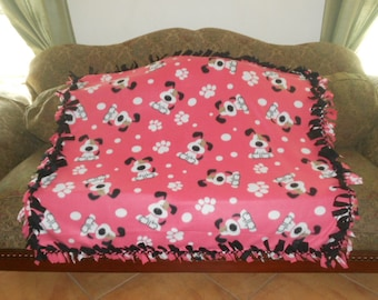 White Dogs on Pink Coral Black Back No Sew Fleece Blanket Fleece Tie Blanket Pet Blanket Dog Blanket 48x60 Approx. size