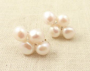 SALE --- Vintage Cultured Pearl Cluster Sterling Post Earrings