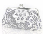 Personalized Gift, Bridesmaid Gift, White Lace Bridal Clutch in Ash Gray 8-inch L'HERITAGE etsygift