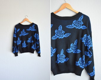 BLUE ROSES knit oversized CROPPED sweater / vintage '70s/'80s. size s.