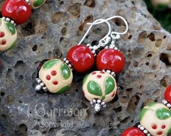 Mistletoe earrings - red & green stoneware beads on sterling silver -Christmas