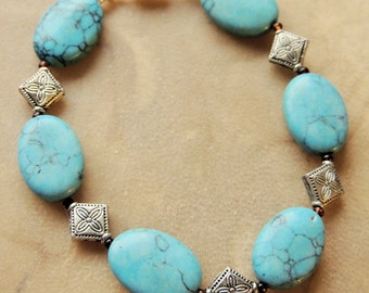Howlite Bracelet, Turquoise and Silver, Southwestern Style, Handcrafted Jewelry, Native Style, Cowgirl Jewelry, Gift for her, Gift under 20