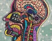Modern Cross Stitch Kit Human Head Anatomical Art By Heather Galler - Needlecraft - Biology