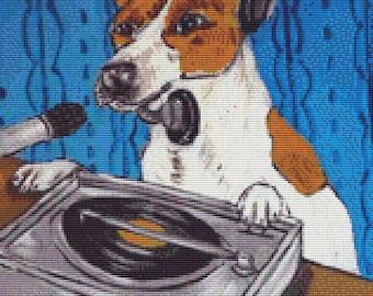Jack Russell cross stitch, DJ by Jay Schmetz, Humorous Needlecraft, Modern Cross Stitch Kit, Dog Cross Stitch, Counted Cross stitch