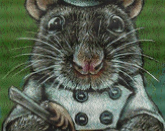 Modern Cross Stitch Kit By Tanya Bond 'Ramsey' - Needlecraft Counted CrossStitch Rat - Cook - Chef