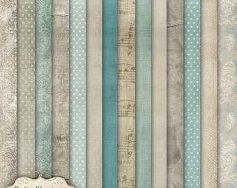 Vintage Charm - Digital Papers - Digital Scrapbooking Paper Pack  - 14 Beautiful Papers - 12 x 12 inch - INSTANT DOWNLOAD -2.75