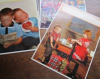 5 1961 Calendar Lithographs Kids * Large Lithographs Calendar Photographs * Prints * Plus 1 bonus print