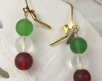 Red White and Green frosted glass earrings - christmas colors - flag colors - dangle earrings