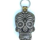 Leather Black Sugar Skull / Day of the Dead / Dia de Muertos Keychain / Keyring / Bag Charm