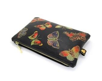 Leather clutch bag / Makeup Bag / Evening Bag / Travel Bag / - Butterflies