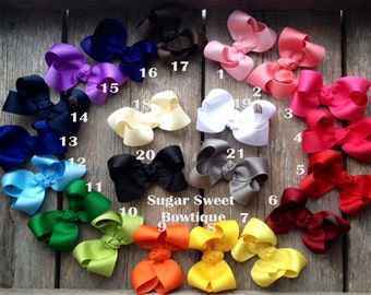 SET OF 5 Solid Ribbon Basic Boutique 3 inch Bow - You Choose Bow Colors - Listing for is 5 Hair Bows See Other Listings for Singles