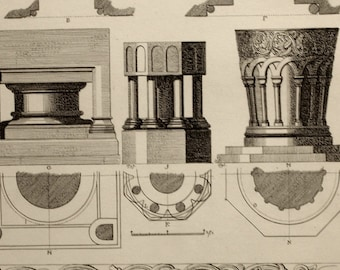 1845 Antique Print of Baptismal Fonts - Large Vintage Print - Plate 20