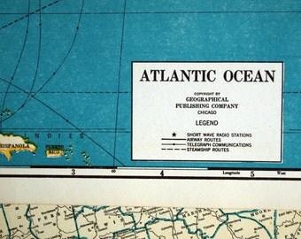 1945 World War II-Era Vintage Map of the Atlantic Ocean - Atlantic Ocean Map
